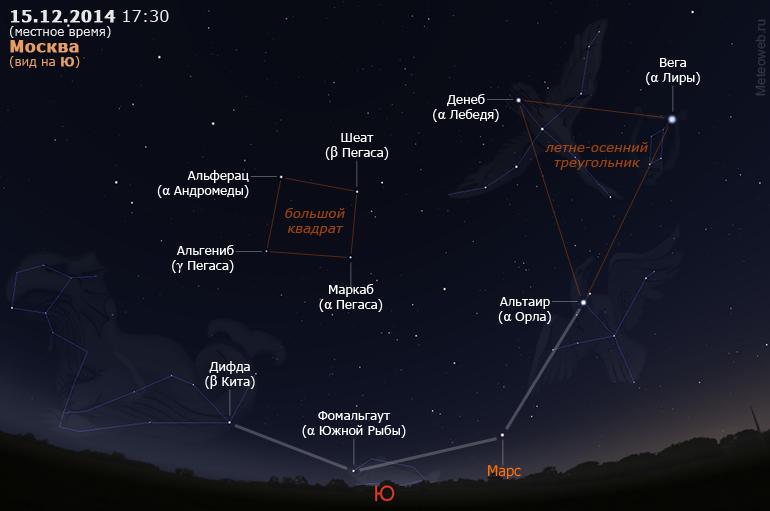 Большой квадрат Пегаса и летне-осенний треугольник на вечернем небе Москвы 15 декабря 2014 г.