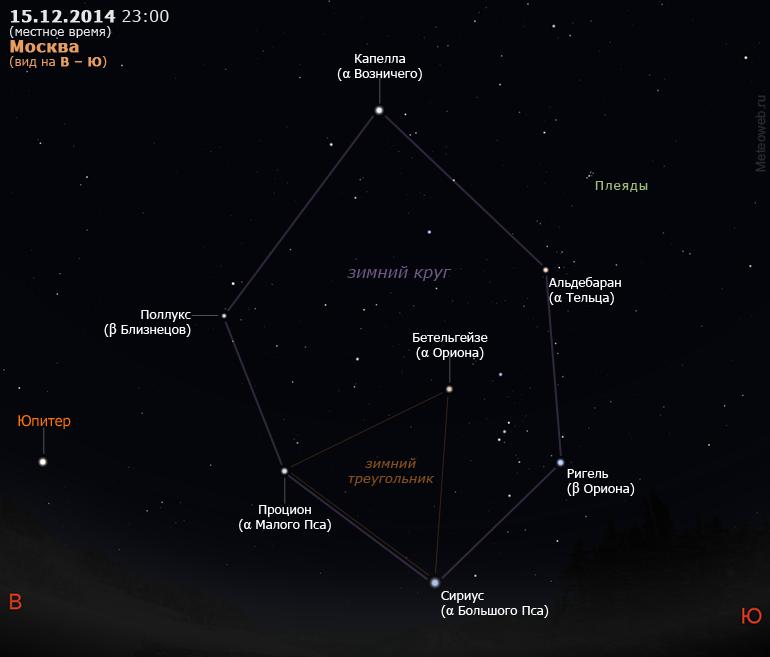 Астеризмы зимний круг и зимний треугольник на вечернем небе Москвы 15 декабря 2014 г.