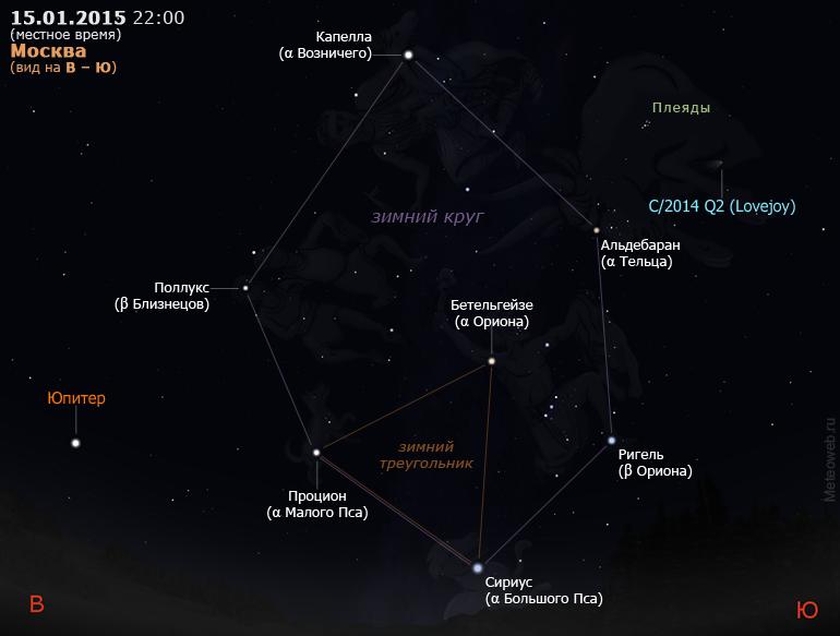 Юпитер, комета C/2014 Q2 (Лавджой) и астеризмы «зимний треугольник» и «зимний круг» на вечернем небе Москвы 15 января 2015 г.