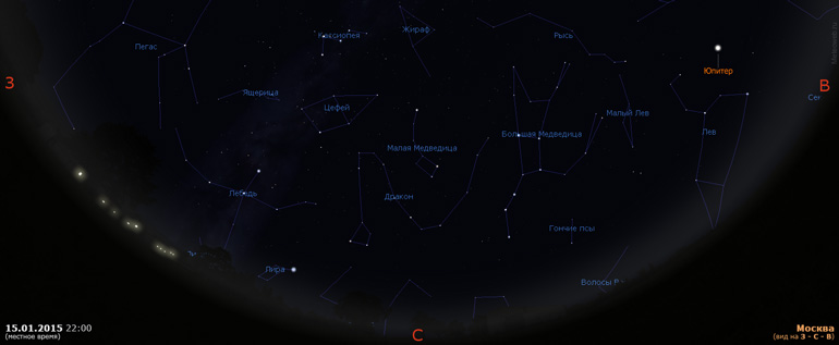 Вечернее небо Москвы 15 января 2015 г. в 22:00 МСК. Вид на запад, север и восток.