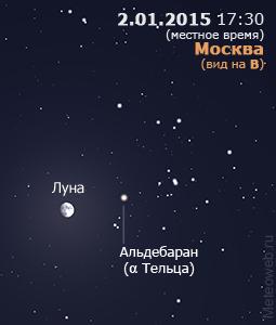 Луна вблизи Альдебарана на вечернем небе Москвы 2 января 2015 г.