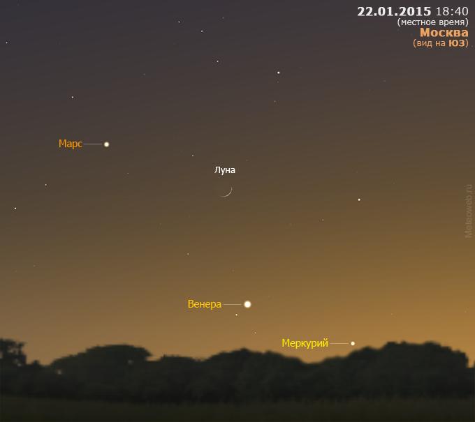 Растущая Луна, Меркурий, Венера и Марс на вечернем небе Москвы 22 января 2015 г.
