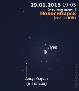 Растущая Луна вблизи Альдебарана на вечернем небе Новосибирска 29 января 2015 г.