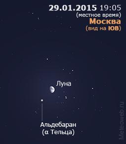 Растущая Луна вблизи Альдебарана на вечернем небе Москвы 29 января 2015 г.