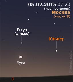 Луна и Юпитер на утреннем небе Москвы 5 февраля 2015 г.