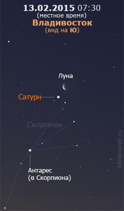 Убывающая Луна и Сатурн на утреннем небе Владивостока 13 февраля 2015 г.