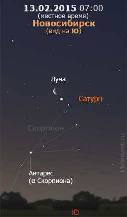 Убывающая Луна и Сатурн на утреннем небе Новосибирска 13 февраля 2015 г.