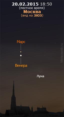 Растущая Луна, Венера и Марс на вечернем небе Москвы 20 февраля 2015 г.