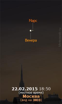 Венера и Марс на вечернем небе Москвы 22 февраля 2015 г.