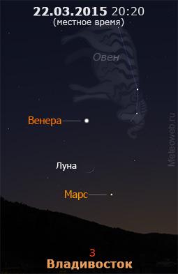 Растущая Луна, Марс и Венера на вечернем небе Владивостока 22 марта 2015 г.
