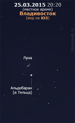 Растущая Луна и звёздное скопление Гиады на вечернем небе Владивостока 25 марта 2015 г.