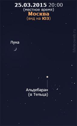 Растущая Луна и звёздное скопление Гиады на вечернем небе Москвы 25 марта 2015 г.