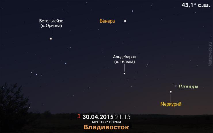 Меркурий вблизи Плеяд и Венера на вечернем небе Владивостока 30 апреля 2015 года