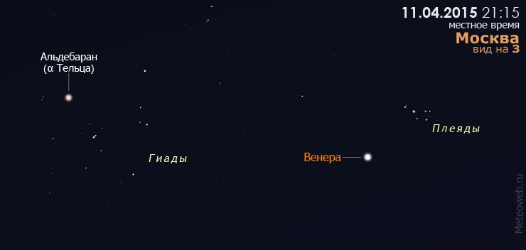 Венера между Плеядами и Гиадами на вечернем небе 11 апреля 2015 года