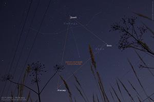 Летне-осенний треугольник на вечернем небе 19 ноября 2014 г.