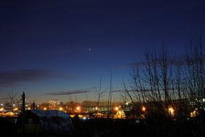 Венера и Марс на вечернем небе 10 февраля 2015 г.