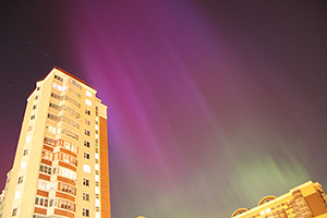 Полярное сияние, г. Королёв, Московская область, 17 марта 2015 г.