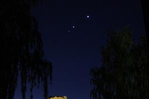 Венера, Юпитер и Марс на утреннем небе Орла 21 октября 2015 г.