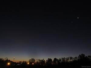 Венера, Юпитер и Марс на утреннем небе Звенигорода 21 октября 2015 г.