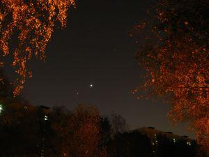 Венера, Юпитер и Марс на утреннем небе над Москвой 21 октября 2015 г.
