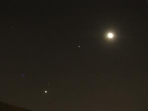 Венера, Марс, Юпитер и Луна на утреннем небе Москвы 6 ноября 2015 г.