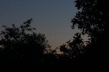 Венера и Юпитер на вечернем небе, Орел, 2 июля 2015 г.