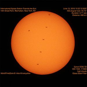Пролёт МКС на фоне Солнца над Манхэттаном (Нью-Йорк) 13 июня 2016 г.